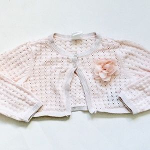 H&M Light Pink Cropped Button Down Sweater